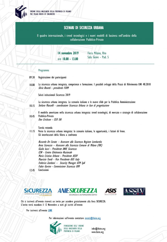 Locandina evento sicurezza urbana 14 Novembre 2019