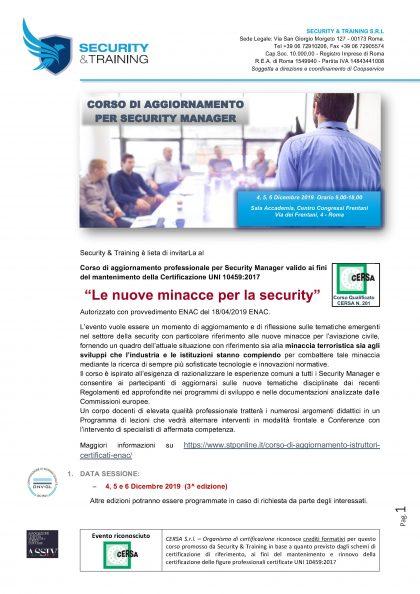 Invito corso minacce alla security